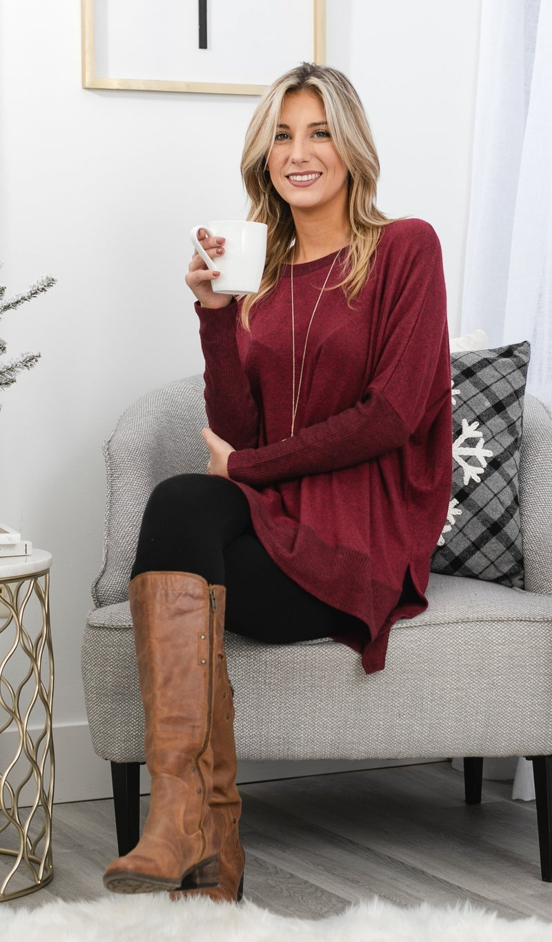 About That Time Tunic, Burgundy