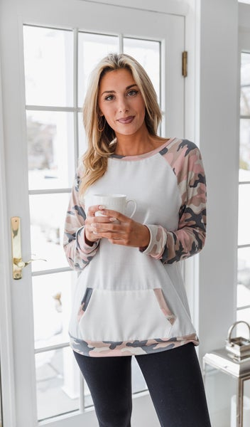 BFF Pullover, Ivory Pink Camo