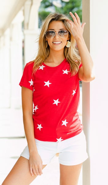 Here For You Star Print Tee, Red