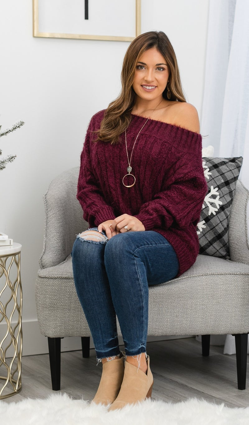 Southern Charm Cable Knit Sweater, Wine