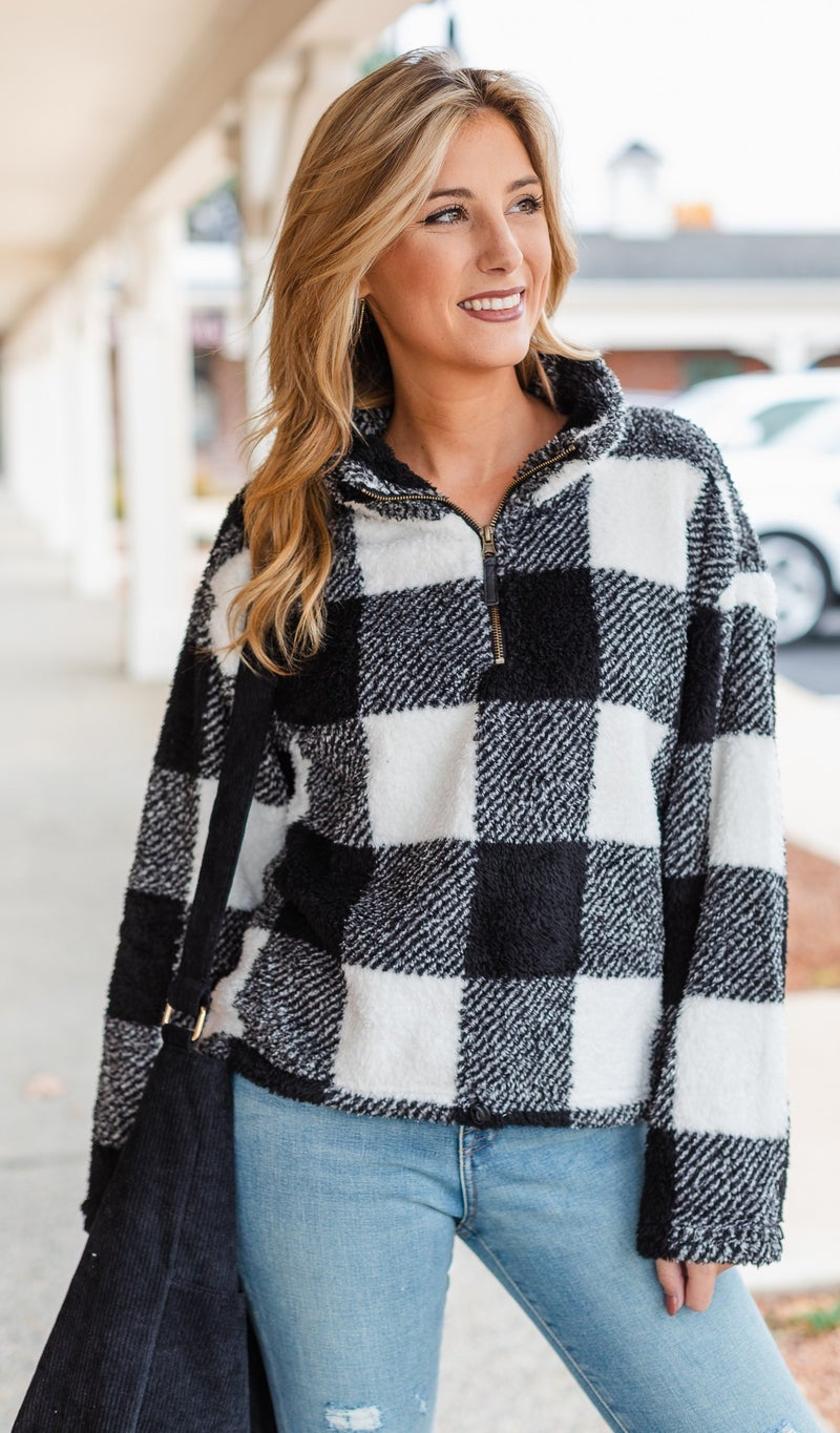 Bundled Up Buffalo Check, 1/4 Zip