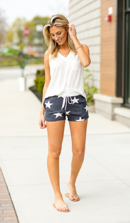 Shine Bright Shorts, Navy