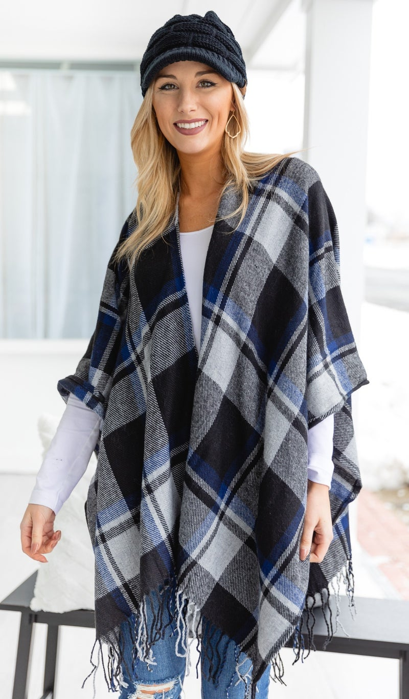 All We Love Shawl/Vest, Blue & Black