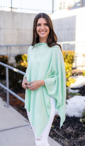 The Cora Poncho, Mint Green