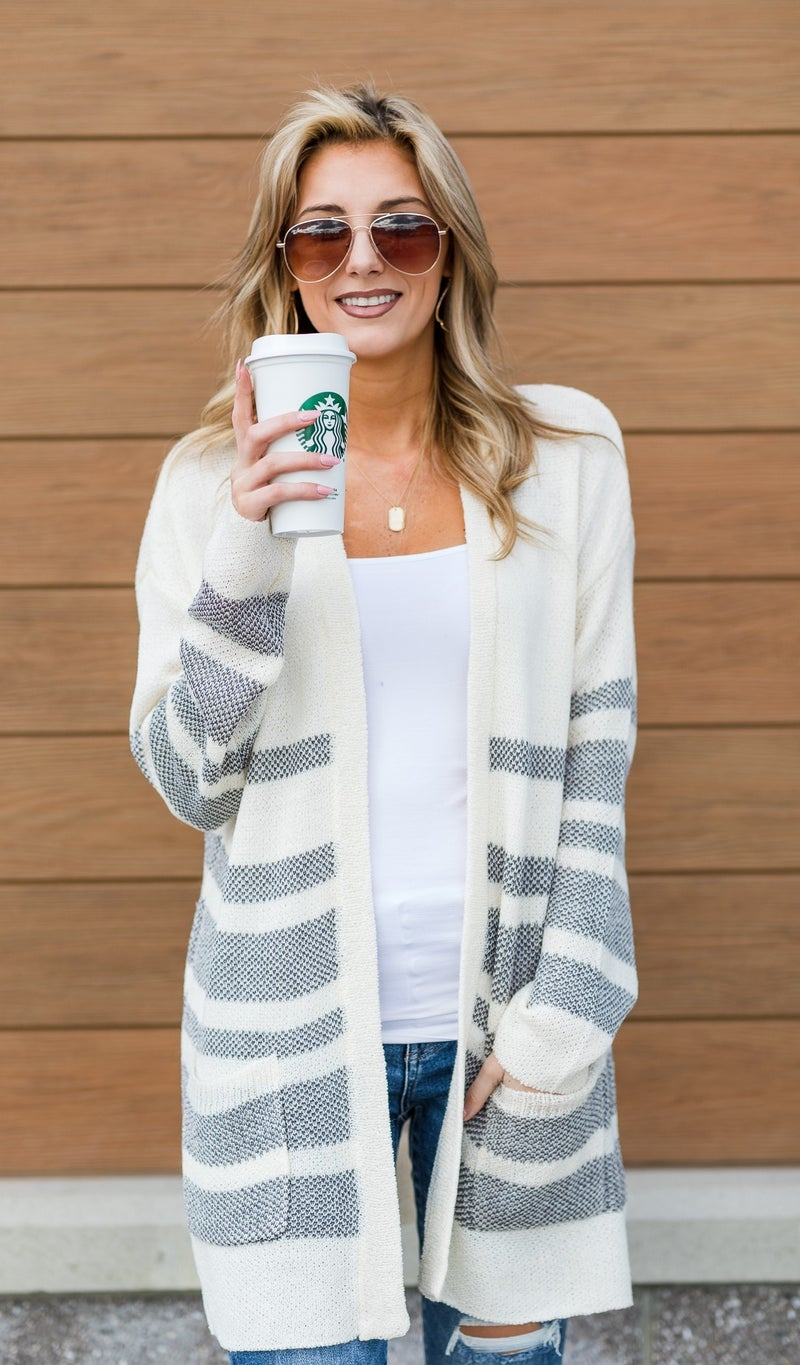 Perfect Throw Cardigan, Navy Stripe