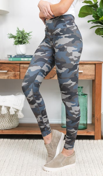 The Chakra Legging  Grey/Blue Camo