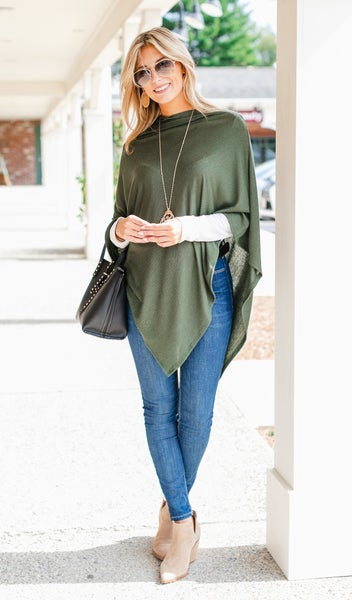 The Stila Poncho/ Sweater,  Olive or Burgundy