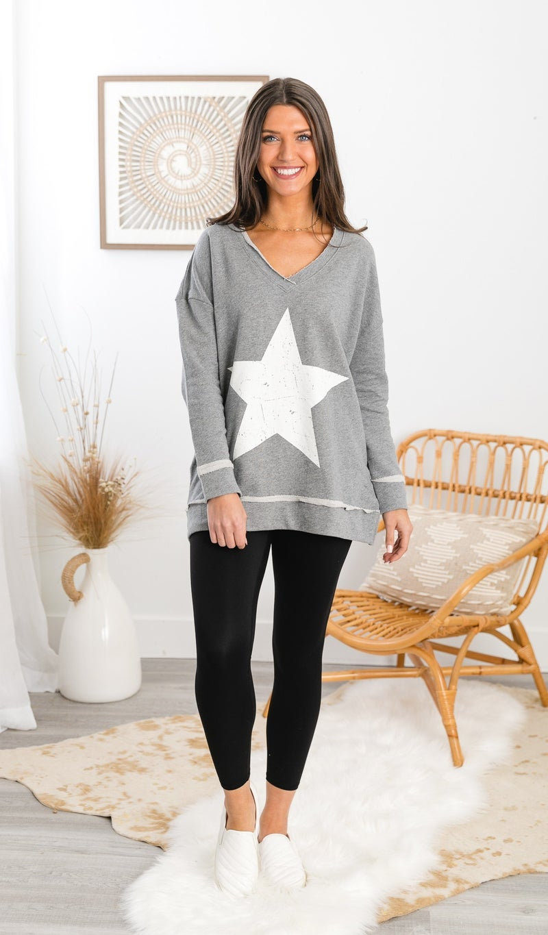 Out Of This World Top, Grey