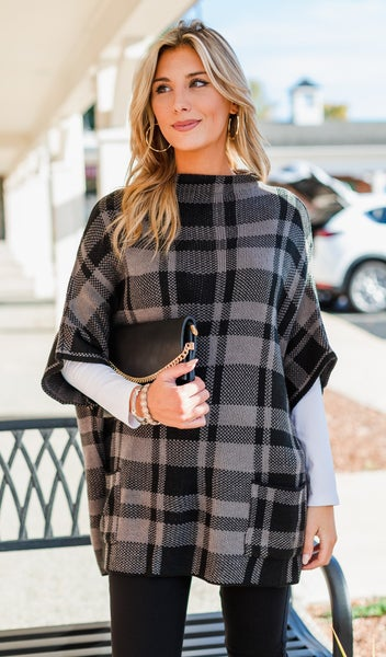 Perfectly Plaid Sweater, Grey