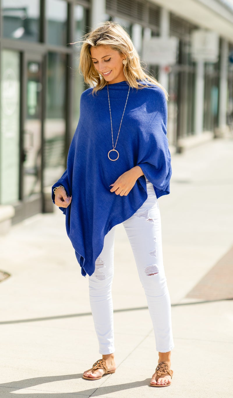 Lovely Lady Sweater Poncho & Necklace BUNDLE, Royal Blue