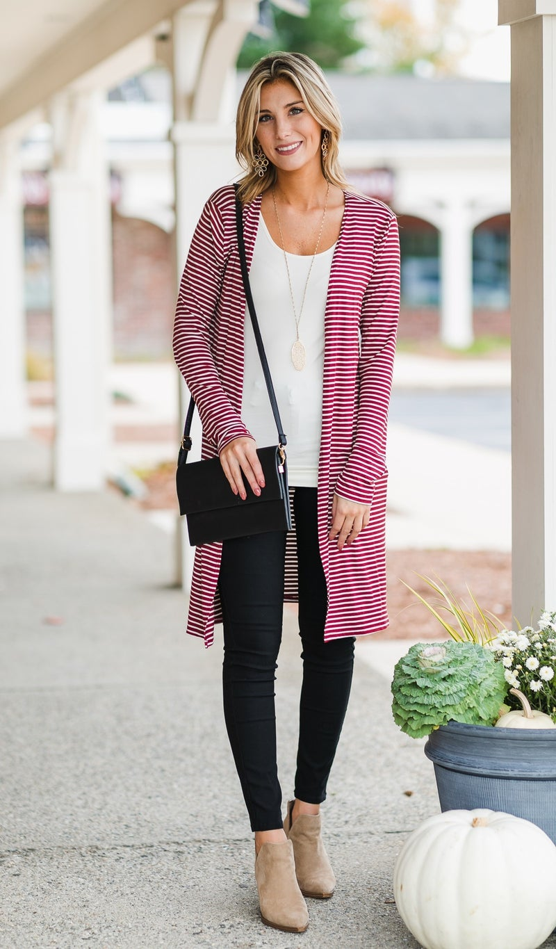 Not Your Average Duster Cardigan, Burgundy