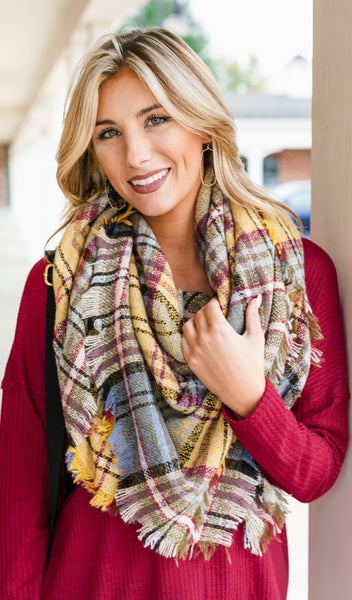 Finally Fall Plaid Blanket Scarf, Yellow