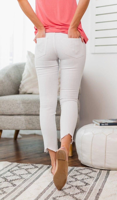 Reagan Raw Hem White Jeans