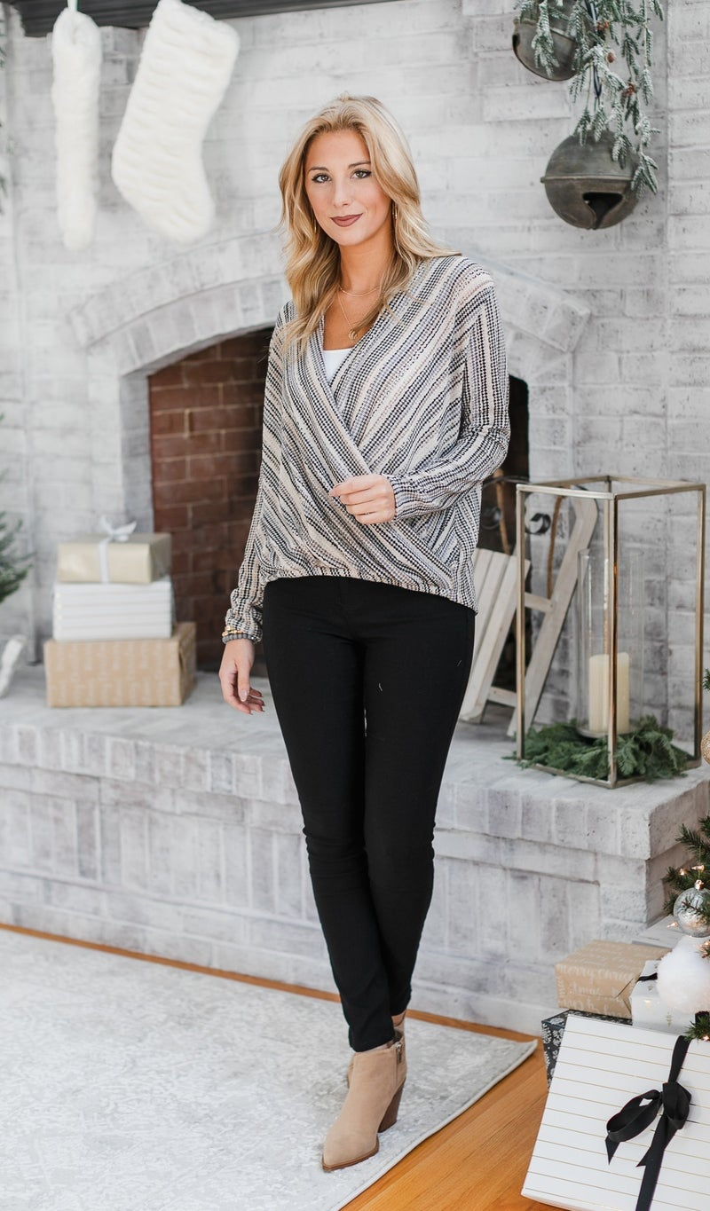 The Fiona Wrap Top, Taupe