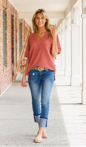 Forever Yours Waffle Tee, Dusty Pink
