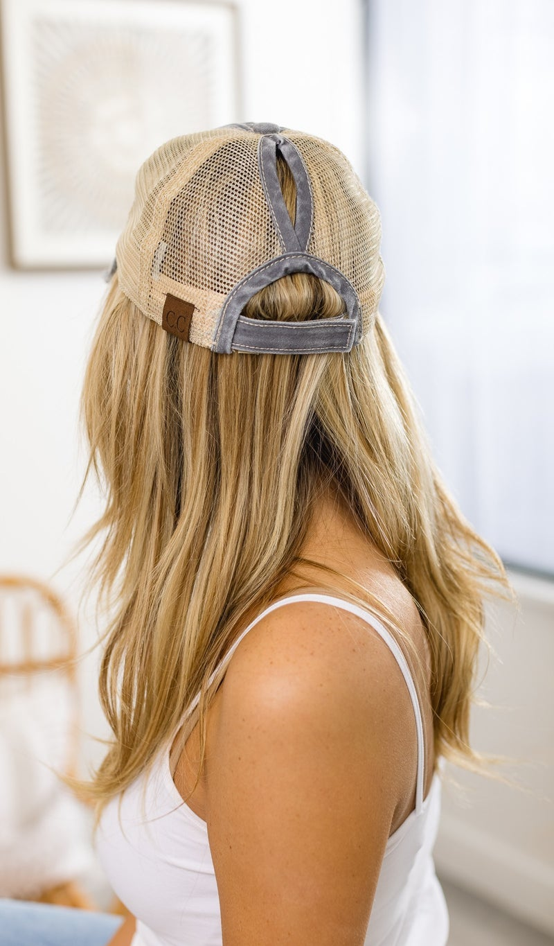 Day At The Field Hat, Washed Navy, Grey or Pink