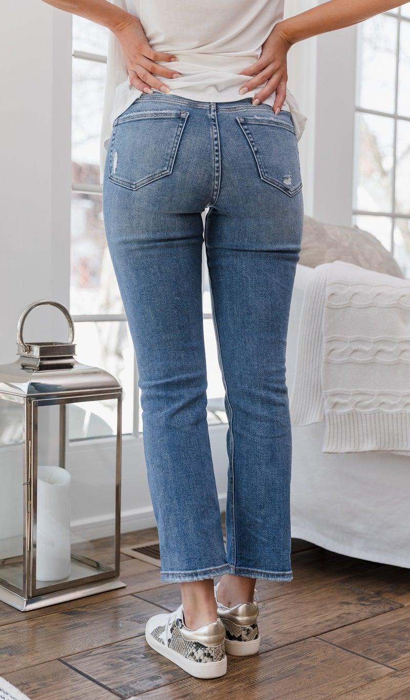 The Becca High Rise Straight Leg Jean, Medium Wash