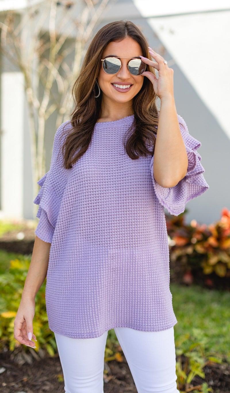 The Leela WAFFLE Top, Lavender