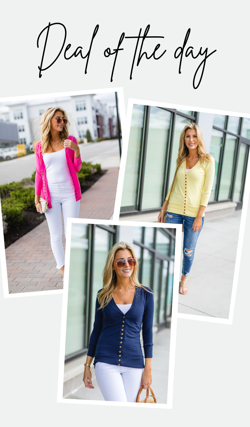 Here To Stay Cardigan, Navy, Yellow, Or Fuchsia