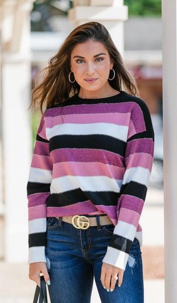True Feelings Sweater, Pink Color Block