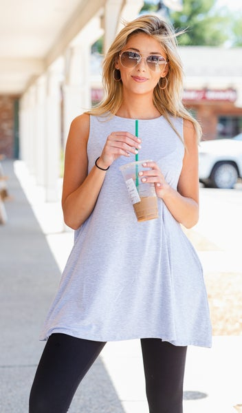 The Zoe Tank, Heathered Grey