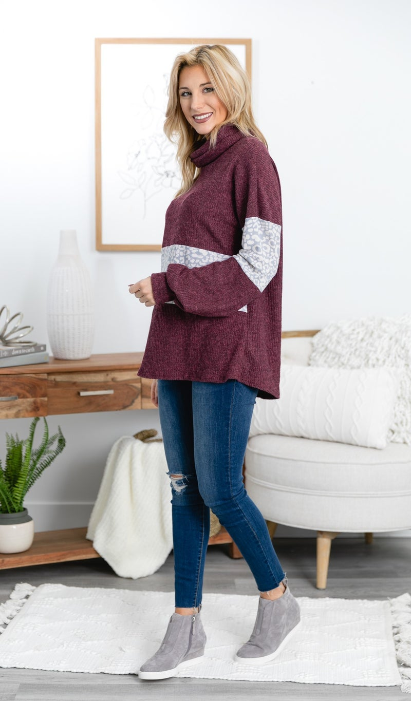 Limited Edition Top, Burgundy Print