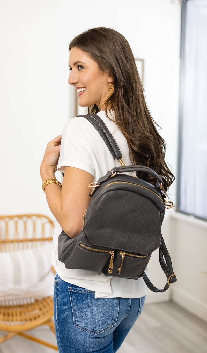 Got Your Back Backpack, White, Ivory or Grey