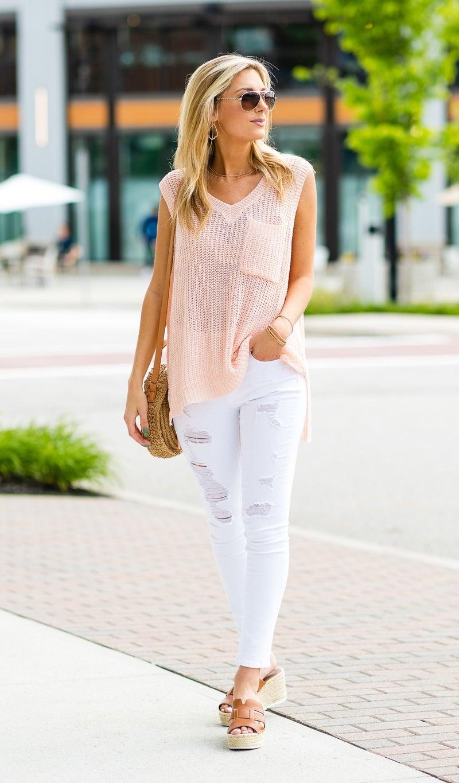 Knit Sweater Tank, Blush or Cappuccino