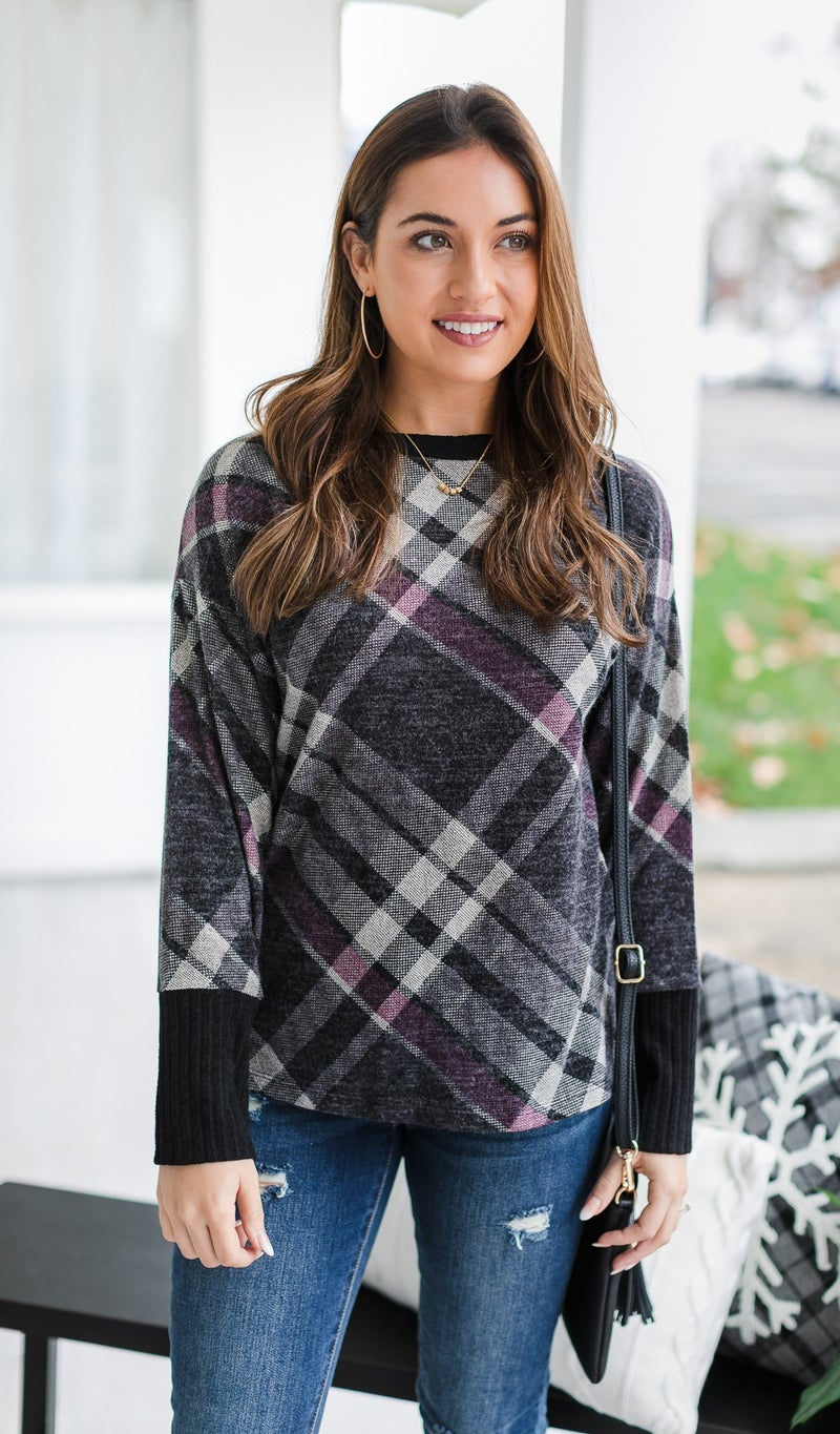 Friday love Plaid Top, Charcoal