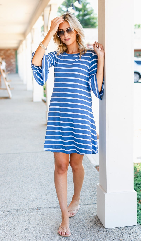 With The Wind Dress, Denim Blue