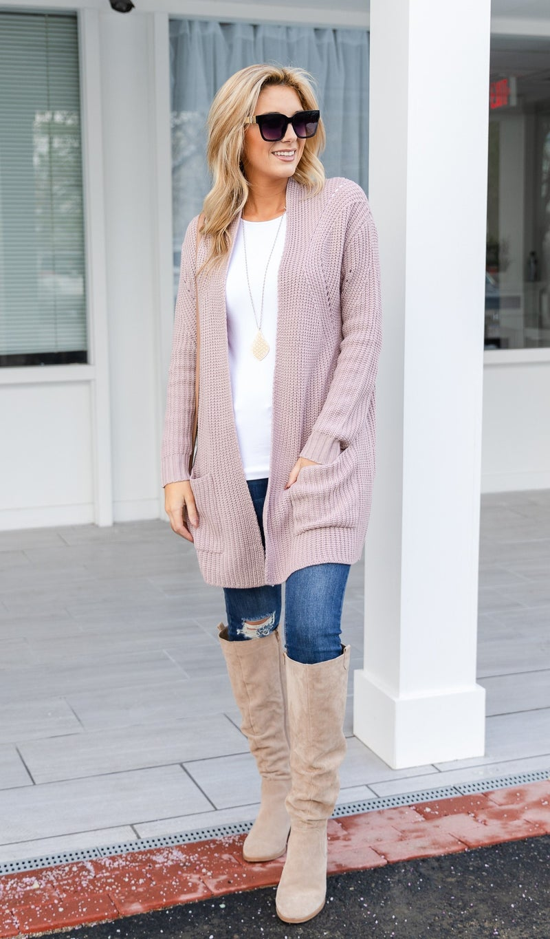 Bundle Up Cardigan, Blush
