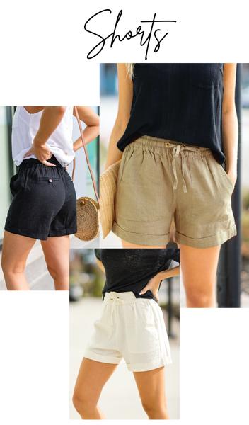 All Summer Shorts, Black, Ivory, or Khaki