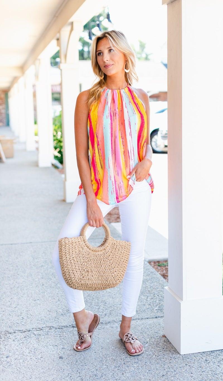 Fresh Water Stripe Top, Lavender Or Orange