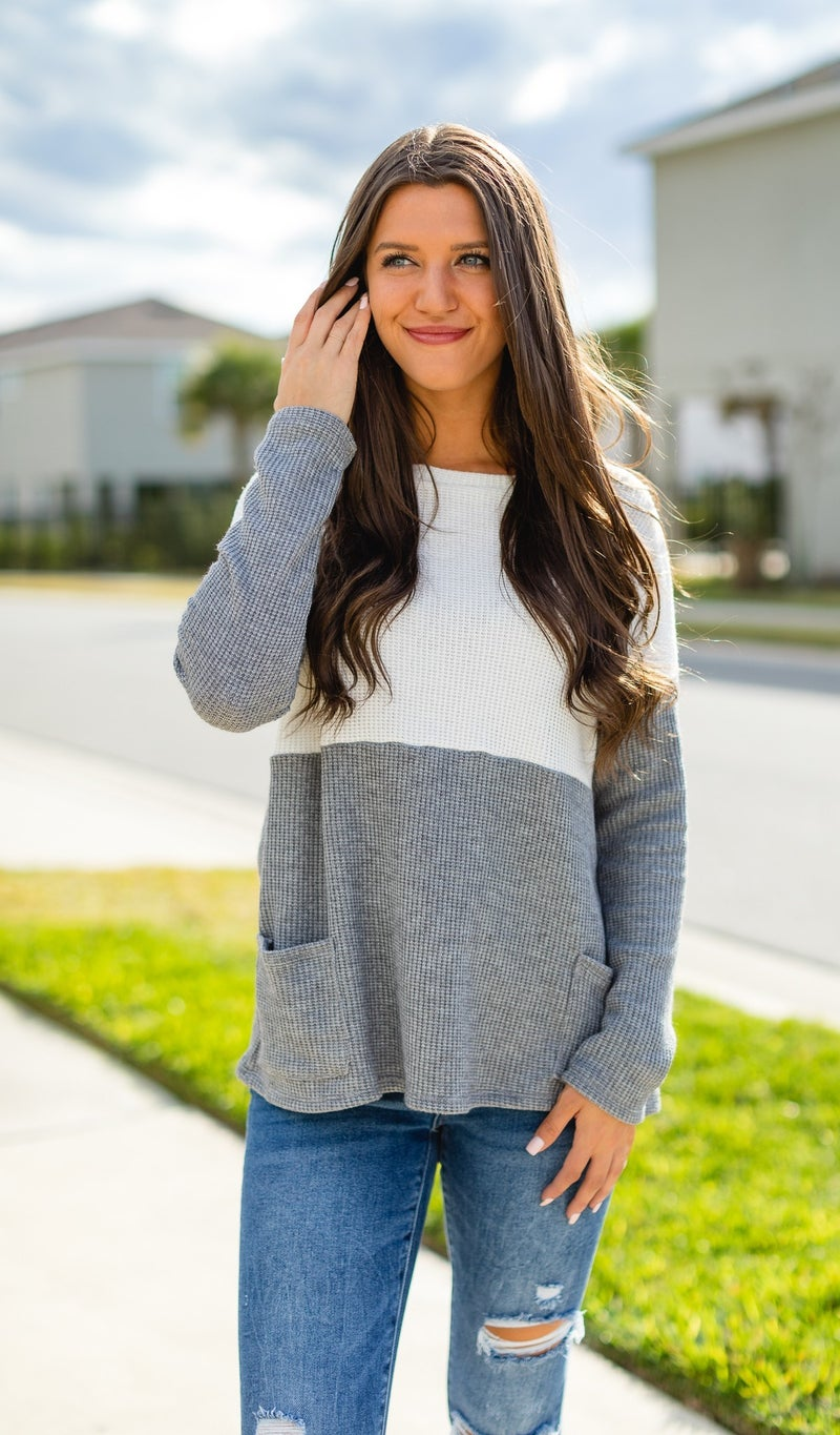 Thinking Spring Thought Top, Heather Grey Ivory