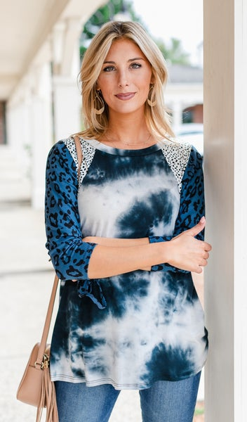 Away With Me Top, Navy Print