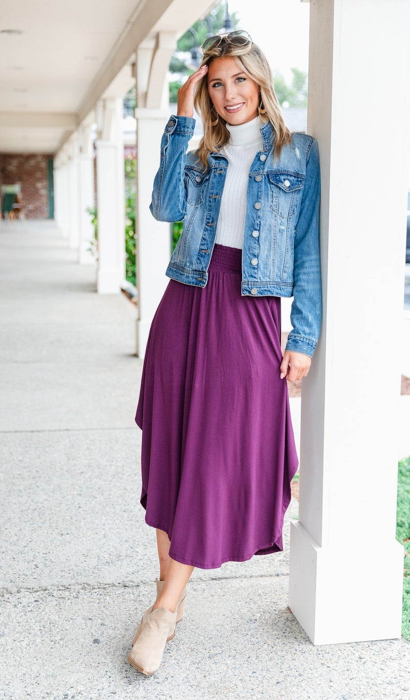 The Ivy Maxi Skirt,Plum