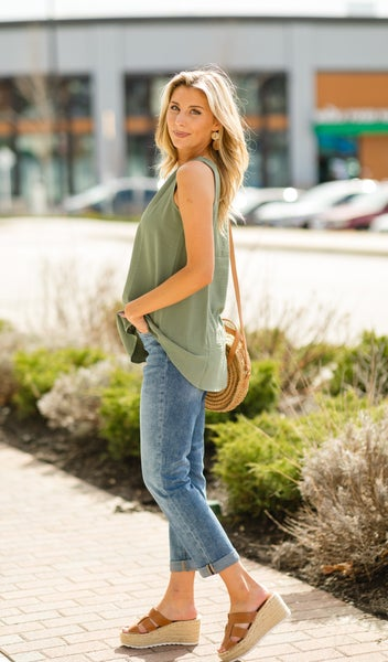 Hello Spring Tank, Light Olive