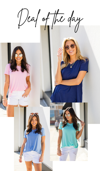 The Gabrielle Tee, Denim, Mint, Navy or Pink