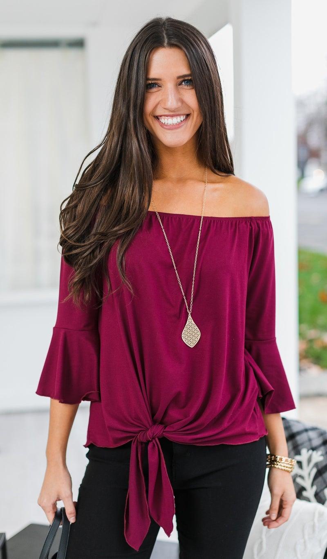 Date Night Top, Black or Burgundy