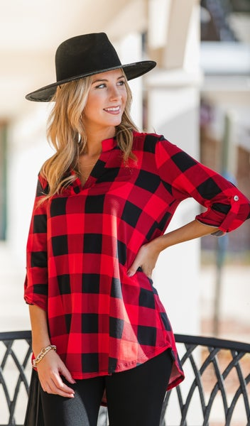 Here & Now Buffalo Check Top, Ivory or Red