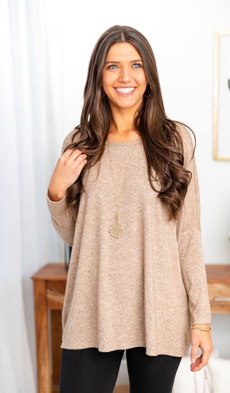 DOORBUSTER!  All Day Comfort Tunic,  Oatmeal
