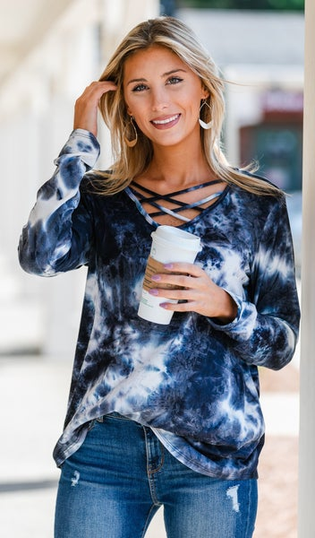 By The Breeze Tie-Dye Top, Charcoal