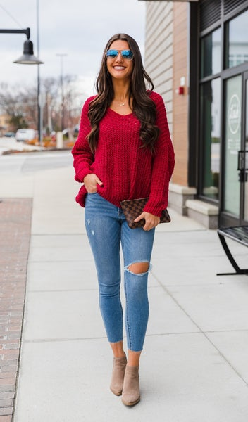 Best Angle Sweater, Red