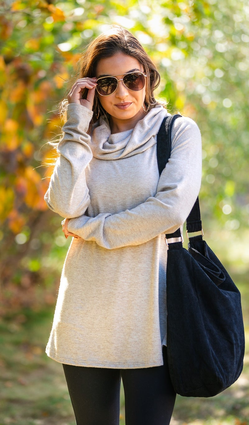 Colby Cowl Neck Tunic, Oatmeal