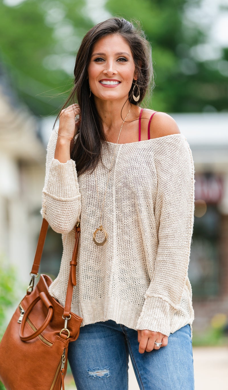 Feels Like Summer Slouchy Sweater, Taupe