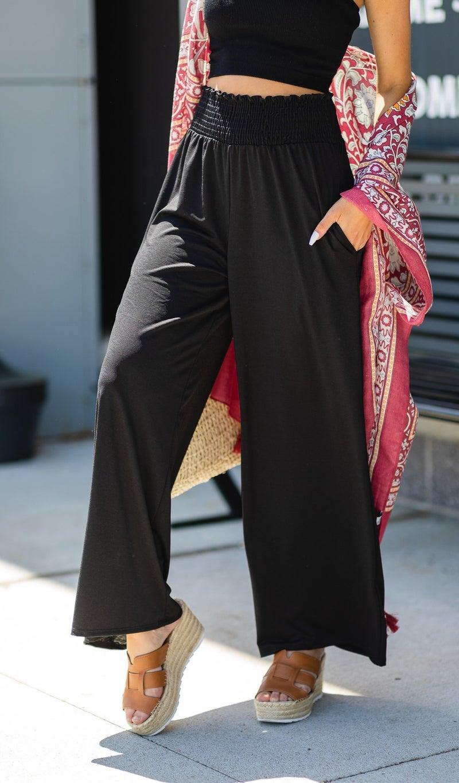 Mina Wide Leg Pant, Black, Chambray or Mauve