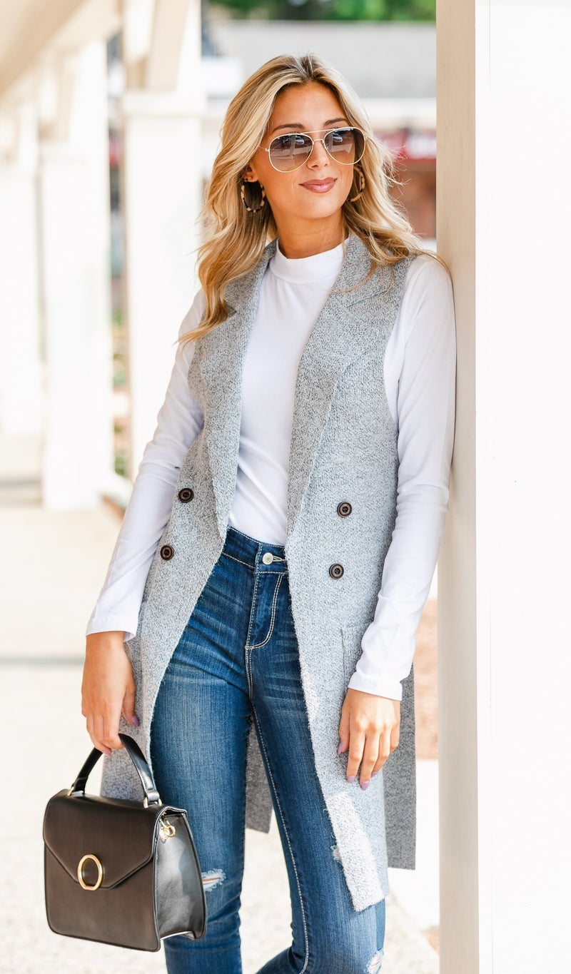 Nothing But Warmth Vest, Grey or Slate Blue