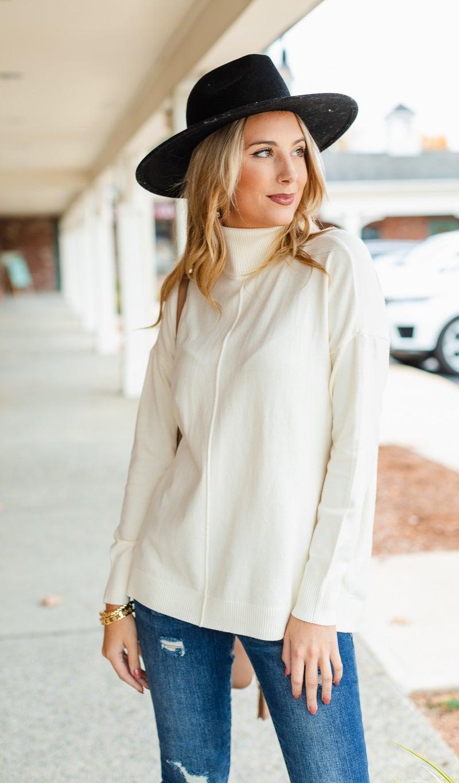 Cozy Days Sweater, Cream or Hunter Green