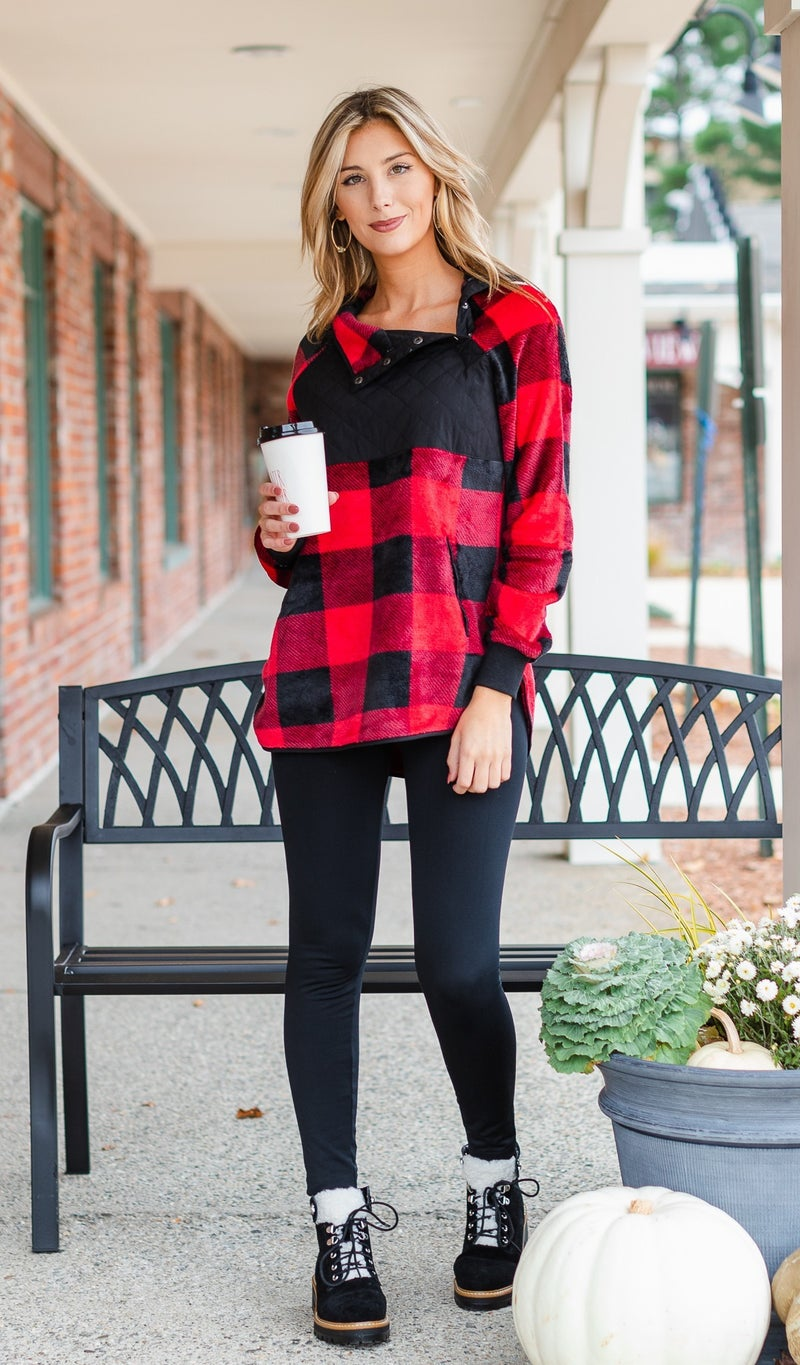 Playful Pattern Pullover, Red Buffalo Check