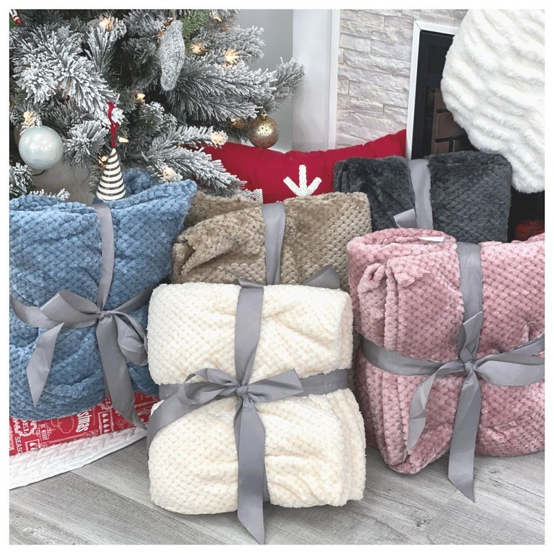 Cozy At Home Blanket, Ivory, Blue, Pink, Charcoal, Khaki